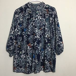 Plus Size Floral Butterfly Button Up Blouse